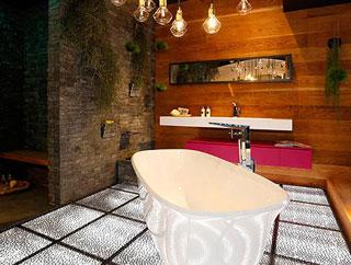 Textured Bathroom with Lights