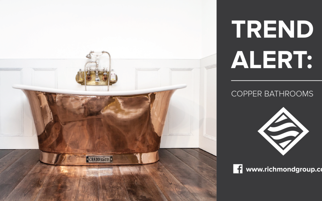 Classic bathroom elegance with copper punctuations