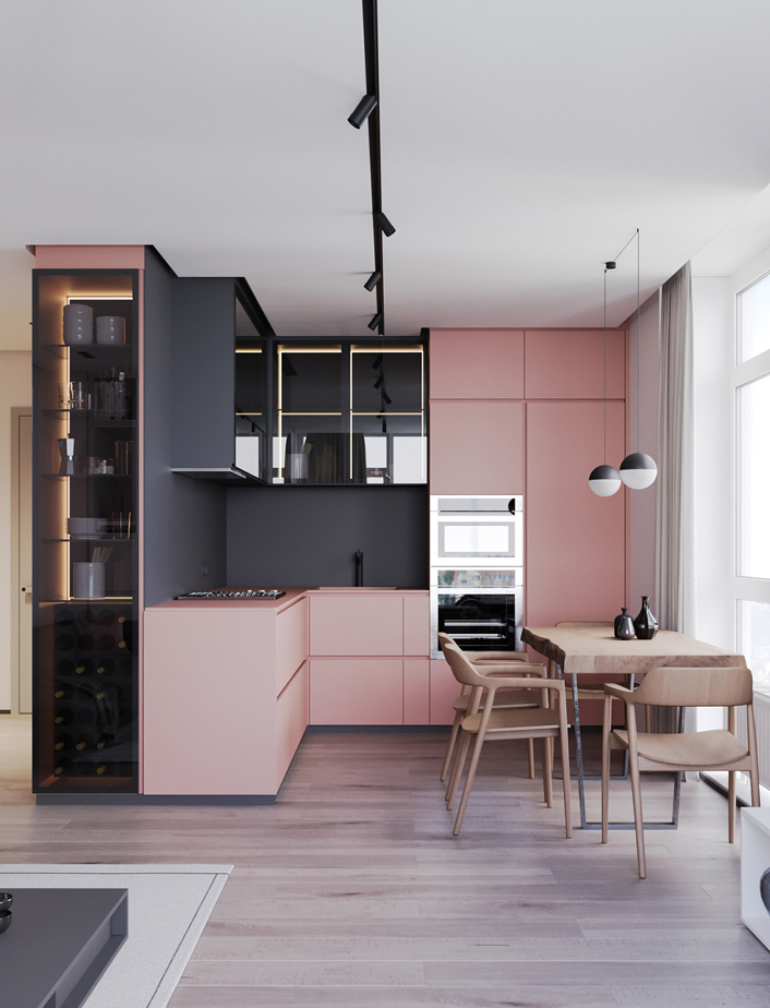 2020 colour trends, pink and grey kitchen