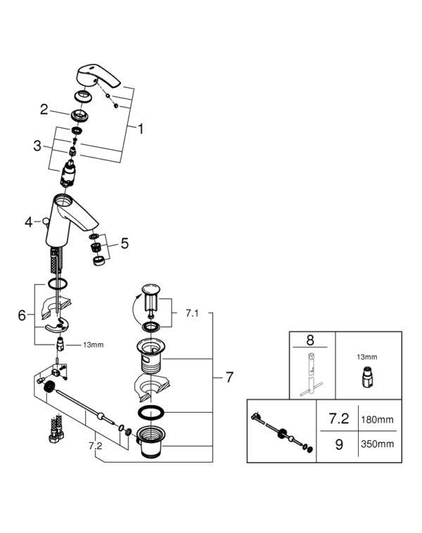 "GROHE EUROSMART SINGLE-LEVER BASIN MIXER 1/2"" M-SIZE, CHROME"