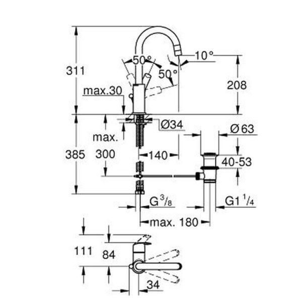 GROHE EUROSMART SINGLE-LEVER BASIN MIXER 12 S-SIZE, 2